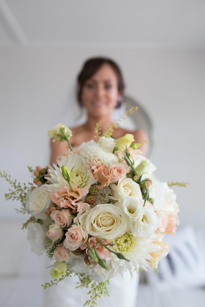 Peaches and cream wedding bouquet