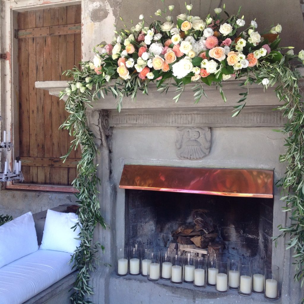 Coral and white fireplace flowers