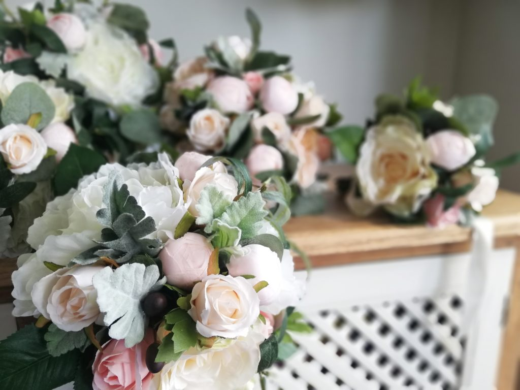 Blush and white silk flowers