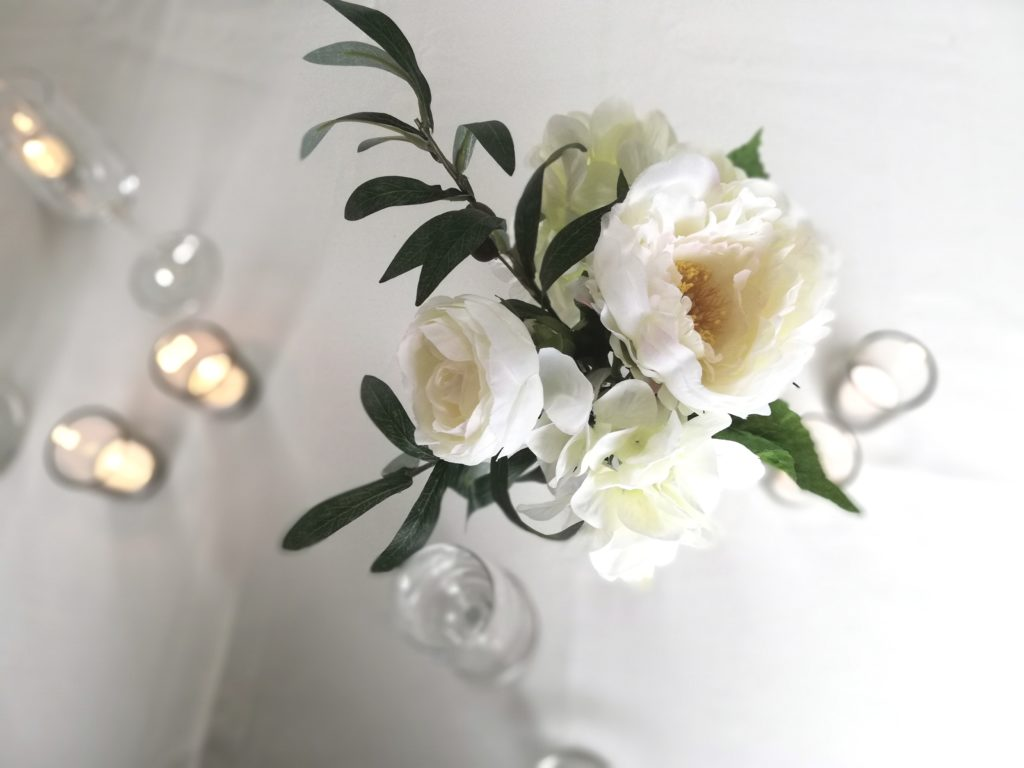 Cream and white artificial flowers