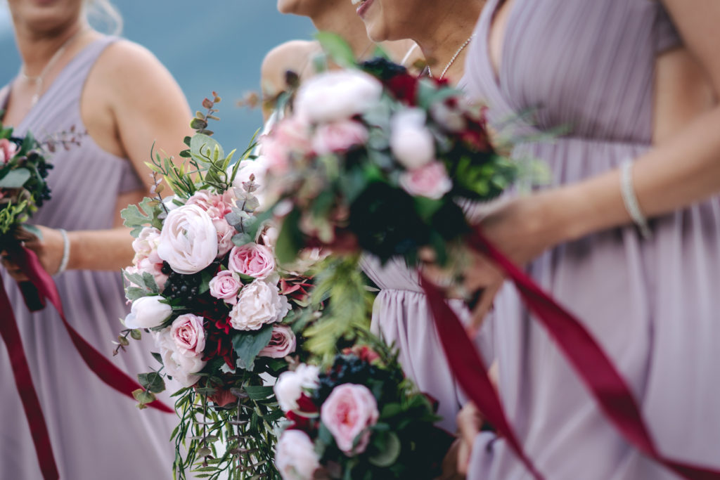 Blush and burgundy artificial flowers
