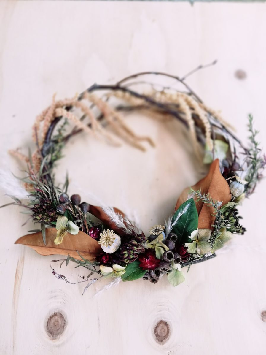 red dried wreath
