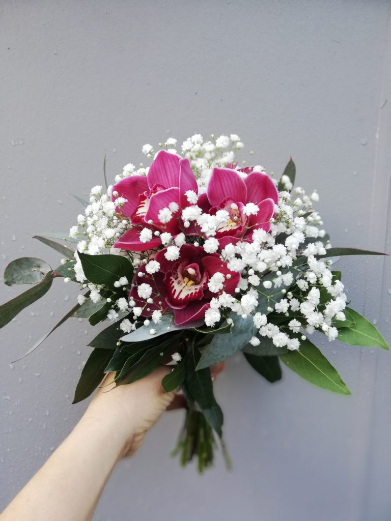 gypsophila and orchid bouquet