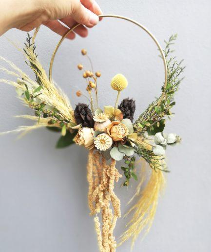 yellow dried flower hoop