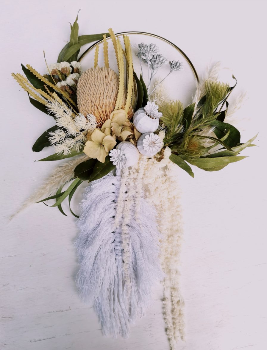 dried flowers and macrame